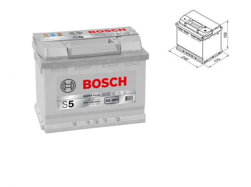 Акумулатор BOSCH Silver Plus S5 12V 63Ah 610 A с десен (+)