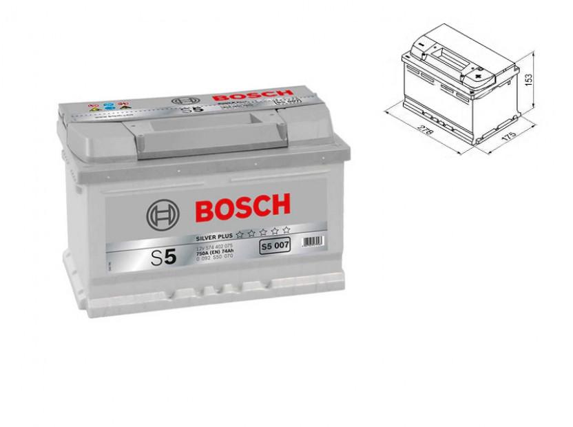 Акумулатор BOSCH Silver Plus S5 12V 74Ah 750 A с десен (+)