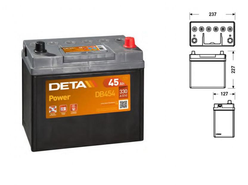 Акумулатор Deta Power 45Ah 300 A с десен (+)