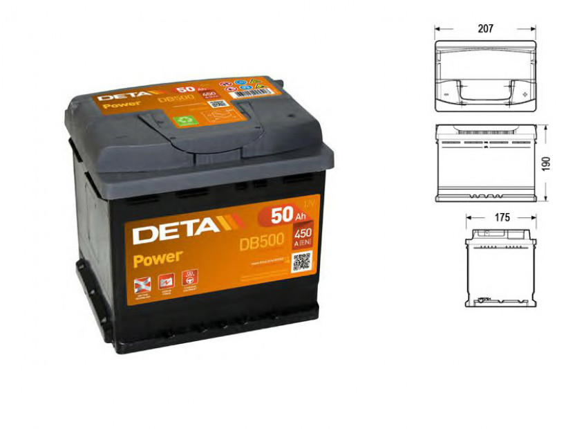 Акумулатор Deta Power 50Ah 450 A с десен (+)