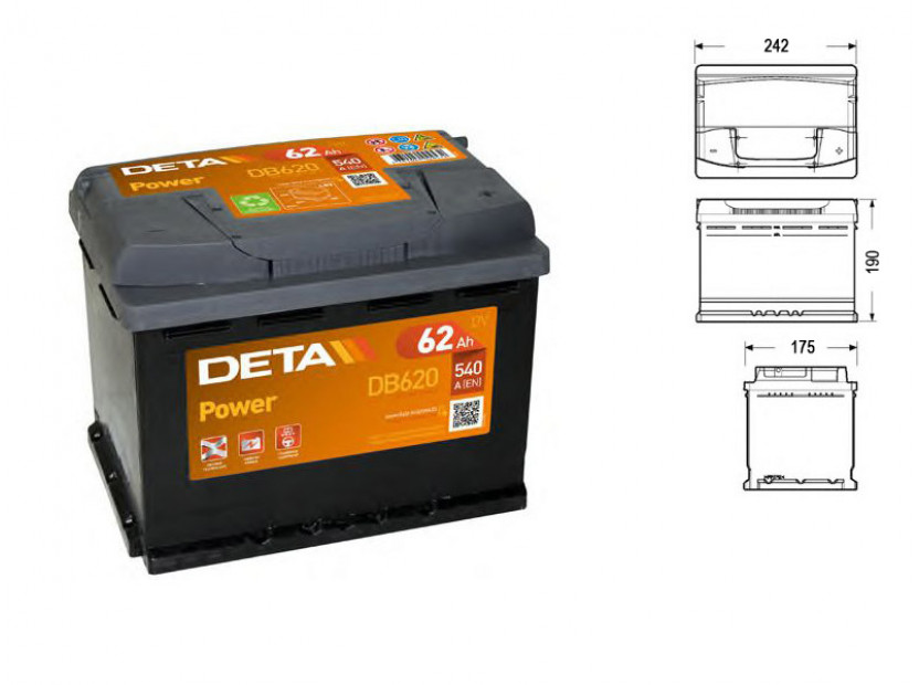 Акумулатор Deta Power 62Ah 540 A с десен (+)