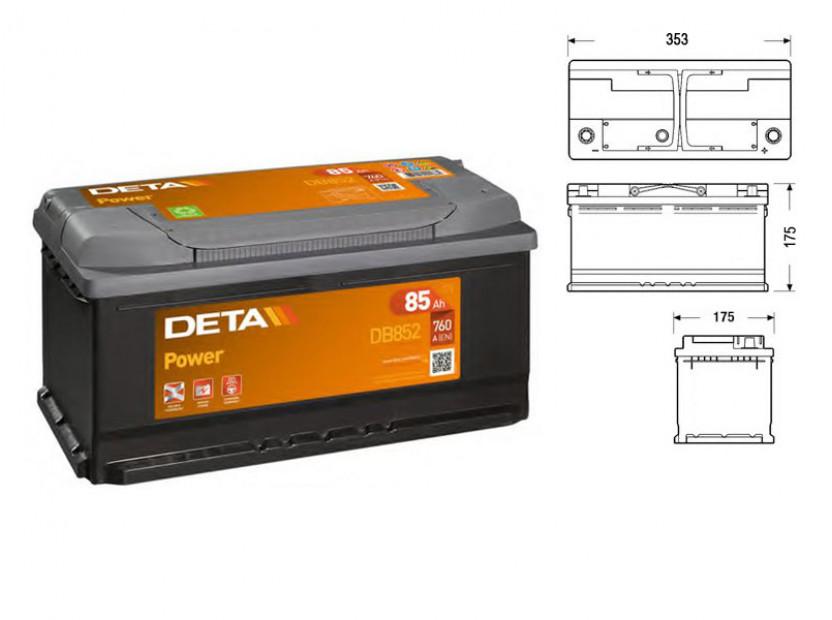 Акумулатор Deta Power 85Ah 760 A с десен (+)