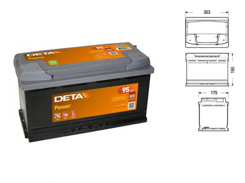 Акумулатор Deta Power 95Ah 800 A с десен (+)