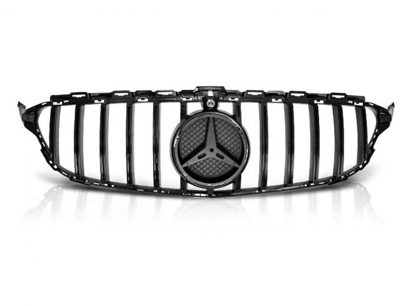 Черен лак решетка тип GT-R за Mercedes C класа W205 2014-2018 с отвор за камера