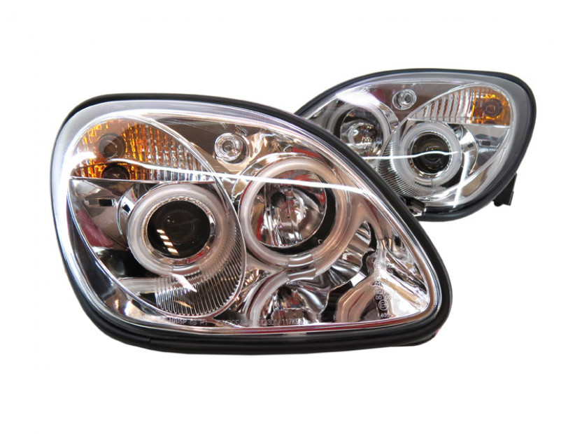 Комплект тунинг фарове с CCFL ангелски очи и лупи за Mercedes SLK R170 1996-2004 с хром основа , ляв и десен 2