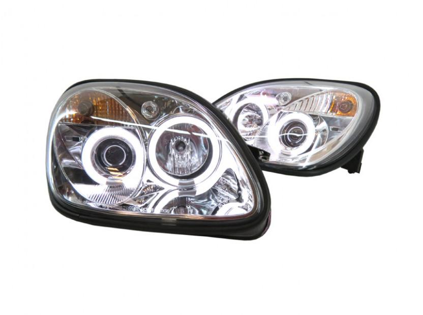 Комплект тунинг фарове с CCFL ангелски очи и лупи за Mercedes SLK R170 1996-2004 с хром основа , ляв и десен