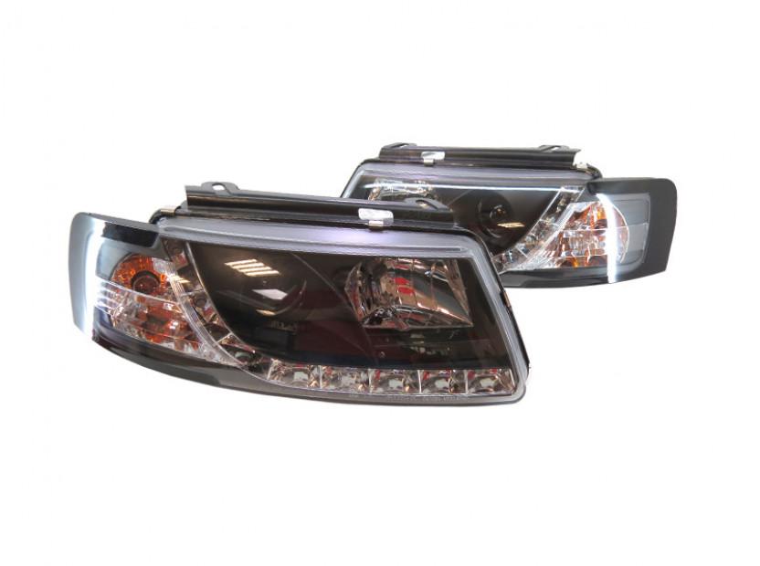 Комплект тунинг фарове с дневни светлини и лупи за Volkswagen Passat B5 1996-2000 с черна основа , ляв и десен 2