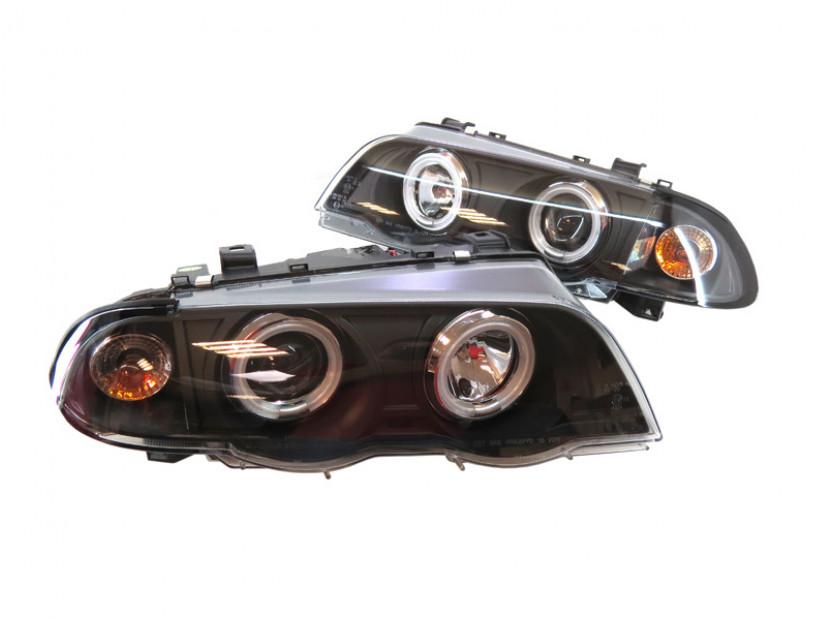 Комплект тунинг фарове с CCFL ангелски очи и лупи за BMW серия 3 Е46 1998-2001 седан черна основа , ляв и десен 2
