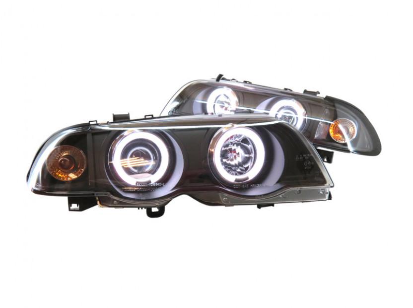 Комплект тунинг фарове с CCFL ангелски очи и лупи за BMW серия 3 Е46 1998-2001 седан черна основа , ляв и десен
