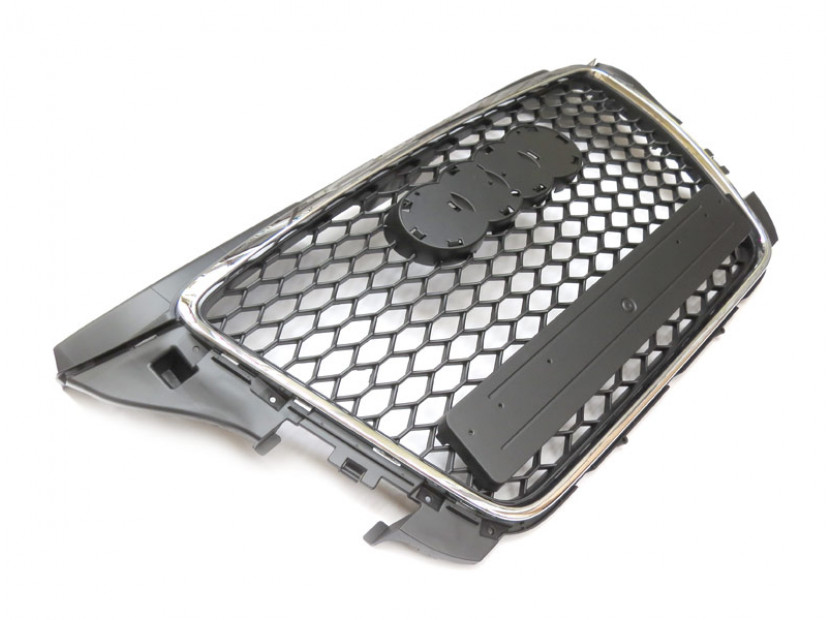 Хром/черна решетка за Audi A3 2009-2012 тип RS без отвори за парктроник 3