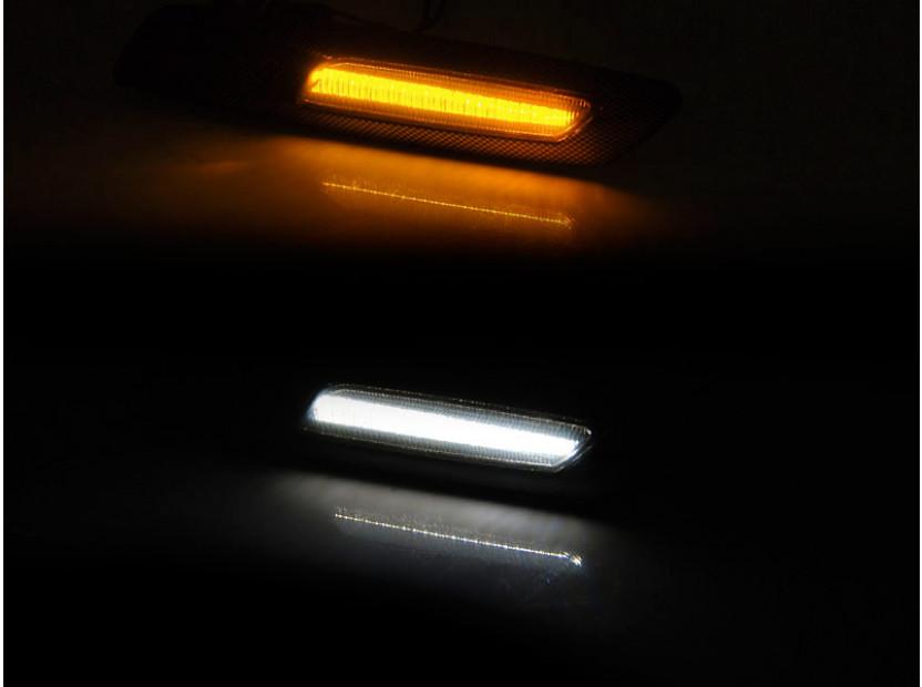 Комплект тунинг мигачи за BMW серия 1/3/5 2004-2010 с опушена основа ляв + десен 3