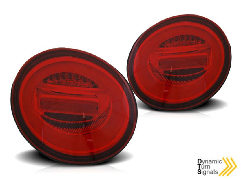 Комплект LED стопове за VW New Beetle хечбек, кабрио 1998-2005, червена и бяла основа, ляв и десен