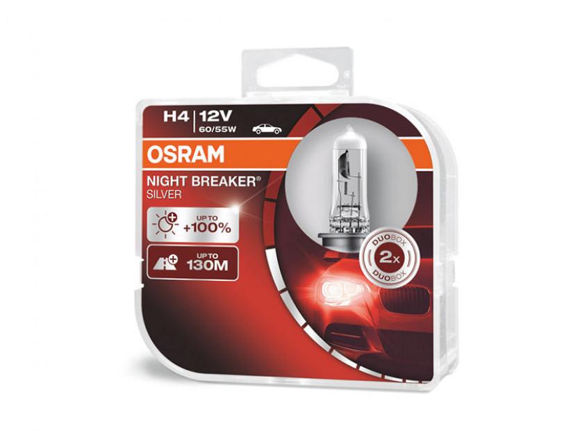 Комплект 2 броя халогенни крушки Osram H4 Night Breaker Silver 12V, 60/55W, P43t, 1650/1000lm