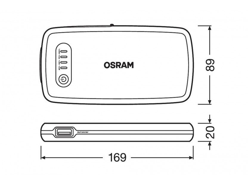 Външна батерия Osram Batterystart 200 за стартиране на двигателя, 6000mAh, 12V, 150-500A 9