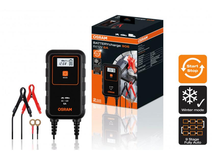 Smart зарядно Osram модел 906, 6/12V, 3/6A за акумулатори до 110Ah