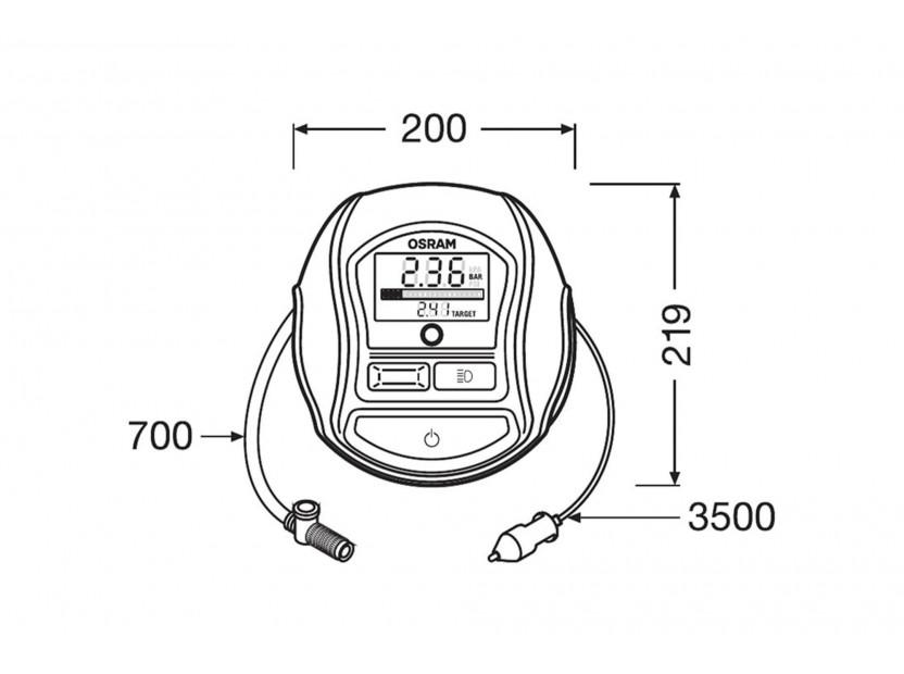 Дигитален компресор Osram модел 1000 за гуми 12V, 15A, 5.5bar 11