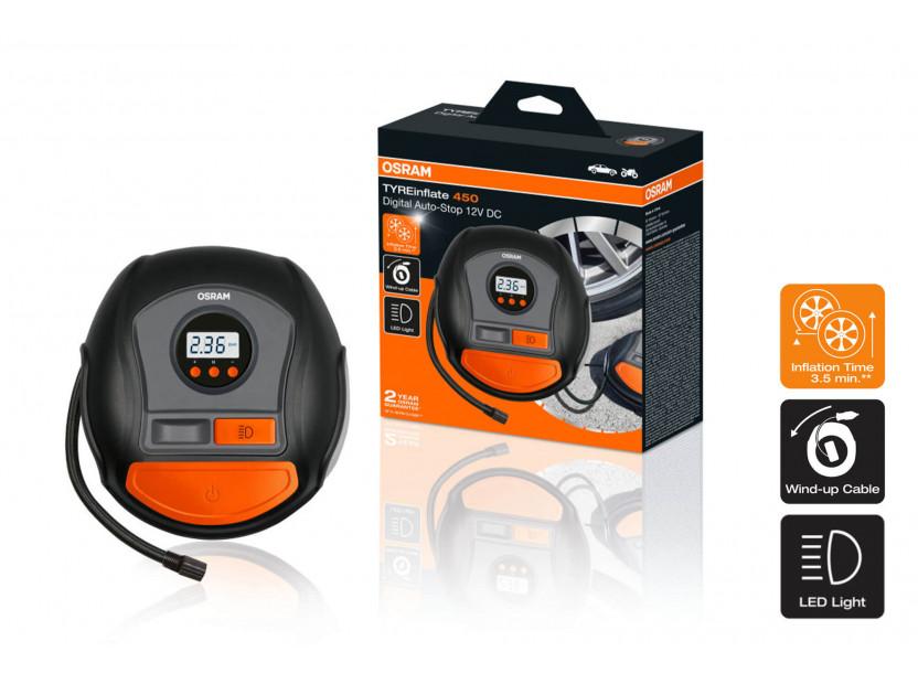 Дигитален компресор Osram модел 450 за гуми 12V, 10A, 5.5bar