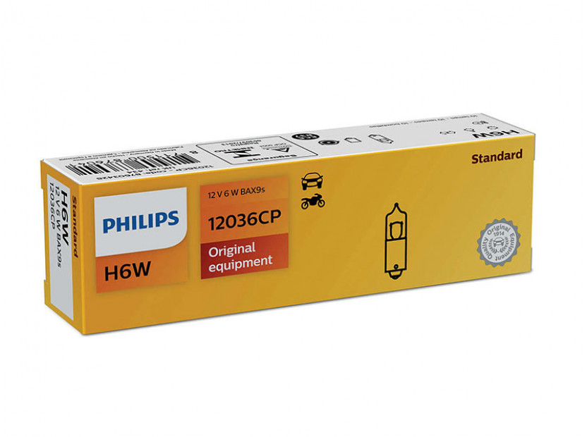 Халогенна крушка Philips H6W Standard 12V, 6W, BAX9S, 1 брой