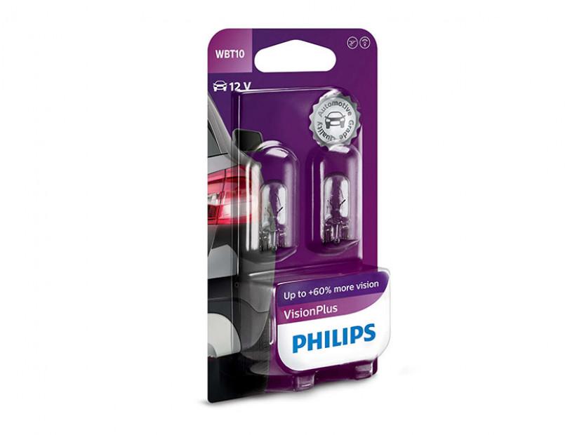 Комплект 2 броя халогенни крушки Philips WBT10  Standard 12V, 6W, W2.1x9.5D