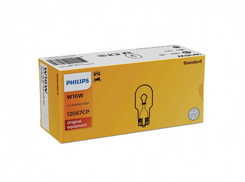 Халогенна крушка Philips W16W Standard 12V, 16W, W2.1x9.5D, 1 брой