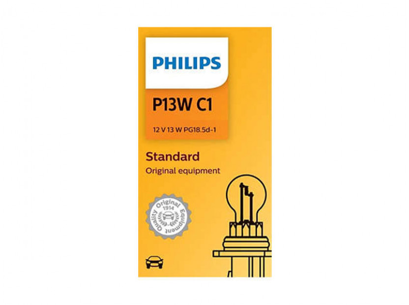 Халогенна крушка Philips P13W Standard 12V, 13W, PG18.5D-1, 1 брой