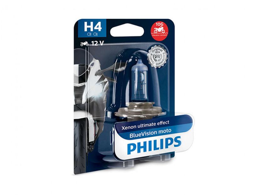 Халогенна крушка Phlips H4 Blue Vision Moto 12V, 60/55W, P43t-3b, 1 брой