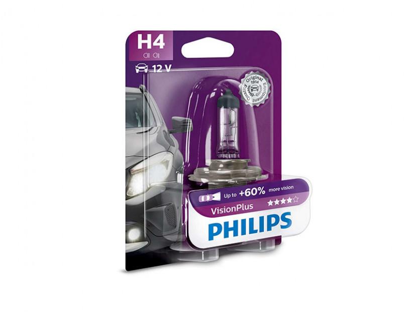 Халогенна крушка Philips H4 Vision Plus12V, 60/55W, P43T-38, 1 брой