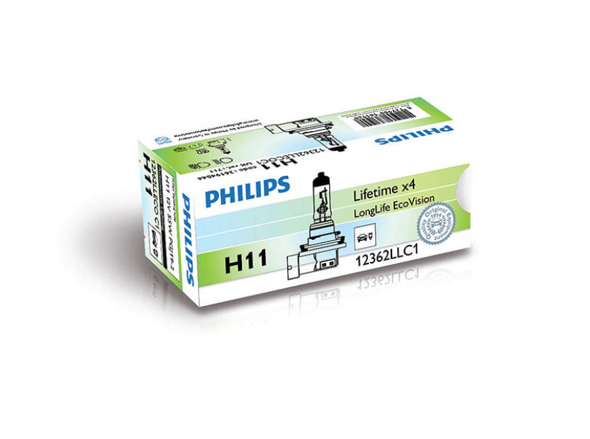Халогенна крушка Philips H11 LongLife EcoVision12V, 55W, PGJ19-2, 1 брой