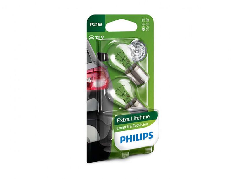 Халогенна крушка Philips P21W LongLife EcoVision 12V, 21W, BA15S, 1 брой