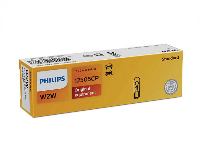 Халогенна крушка Philips W2W Standard 12V, 2W, W2x4.6D, 1 брой
