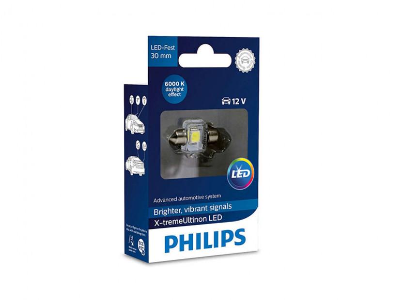 LED лампа Philips тип C5W X-treme Vision 30mm, студено бяла, 6000K, 12V, 1W, SV8.5, 1 брой