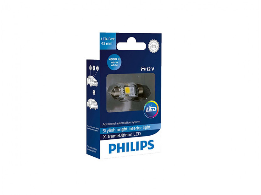LED лампа Philips тип C5W X-treme Vision 43mm, топло бяла, 4000K, 12V, 1W, SV8.5, 1 брой