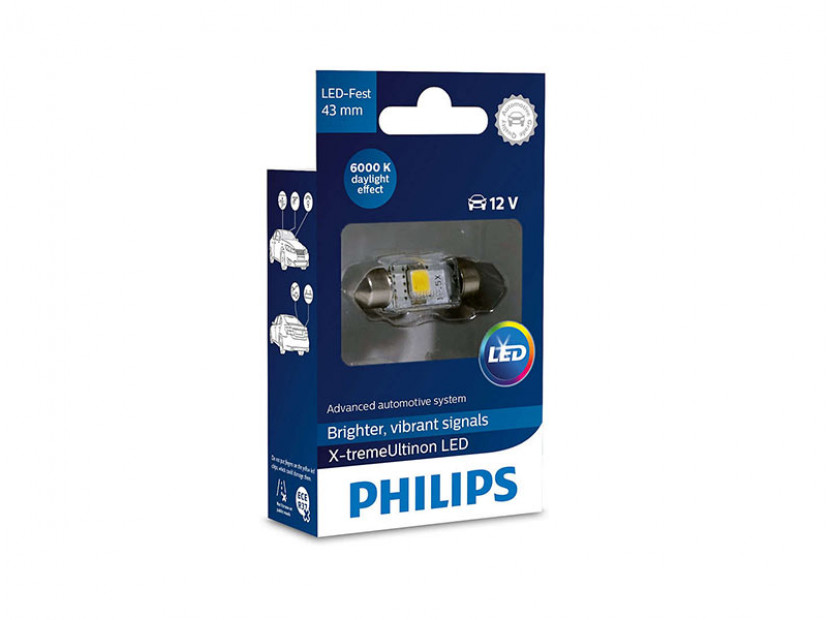 LED лампа Philips тип C5W X-treme Vision 43mm, студено бяла, 6000K, 12V, 1W, SV8.5, 1 брой