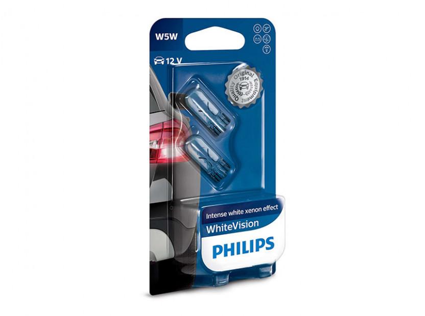 Комплект 2 броя халогенни крушки Philips W5W White Vision 12V, 5W, W2.1x9.5D