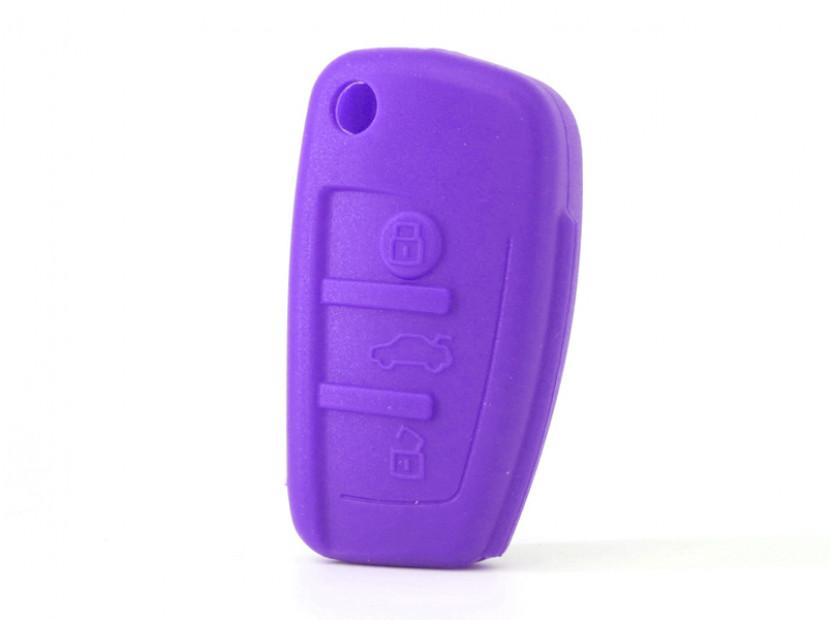 Лилав силиконов калъф за ключ за Audi