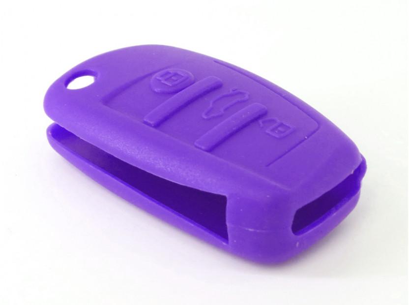 Лилав силиконов калъф за ключ за Audi 6