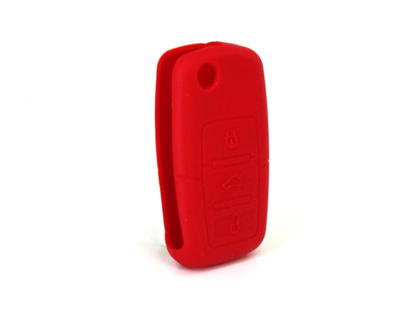 Червен силиконов калъф за ключ за Volkswagen 4