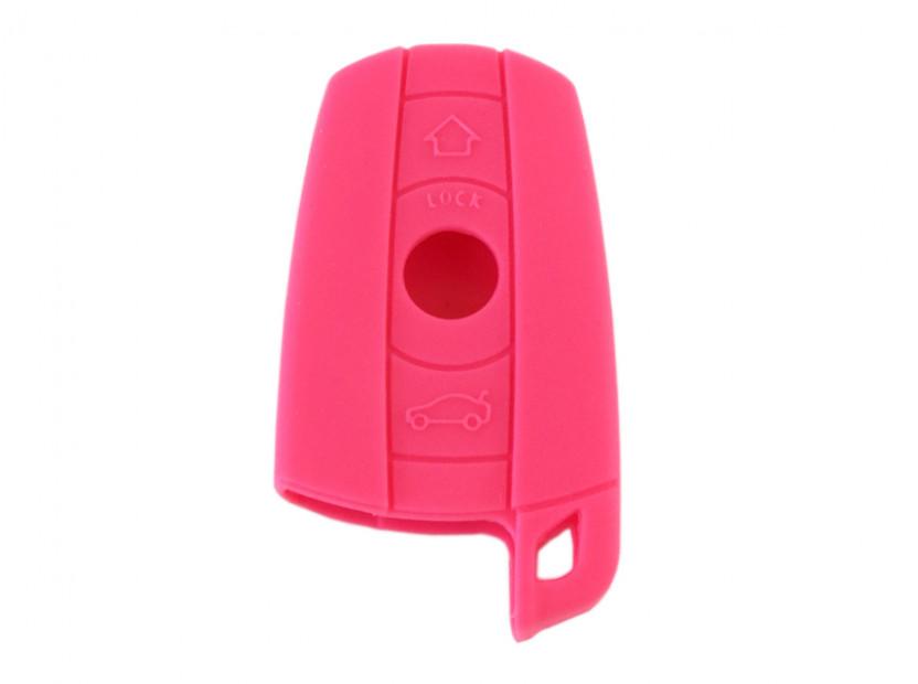 Розов силиконов калъф за ключ за BMW 6