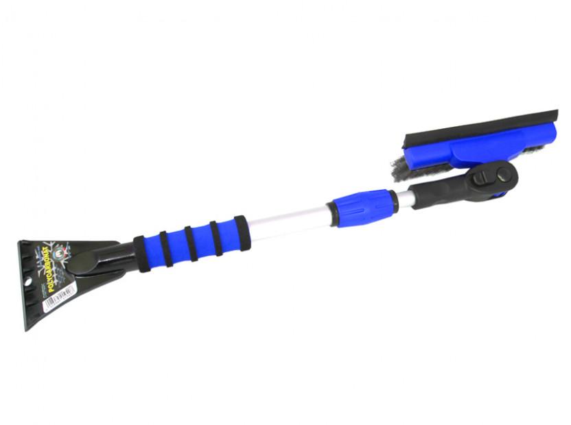 Стъргалка за лед с телескопична дръжка и движеща се на 90° четка за сняг Petex 86 см / 132 см  синя 2