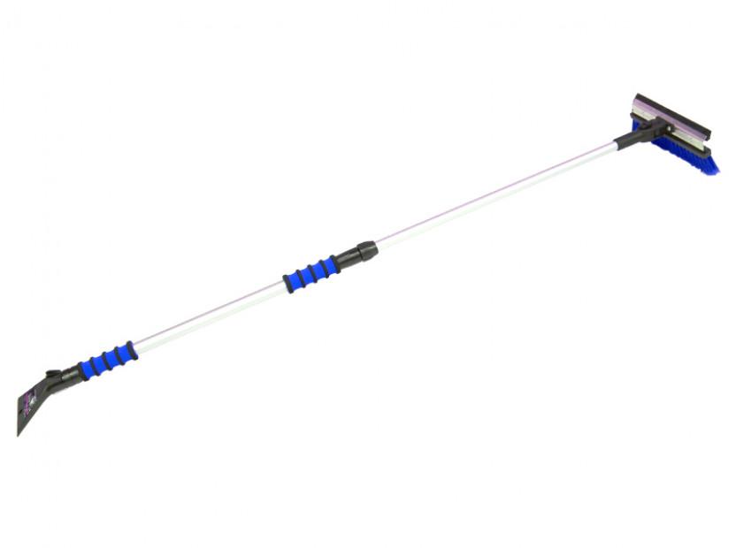 Стъргалка за лед с телескопична дръжка, двоен захват и движеща се на 90° четка за сняг с метална основа Petex 99 см / 155 см синя