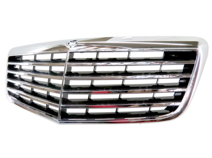 Хром/черна решетка за Mercedes E класа W211 2007-2009 5
