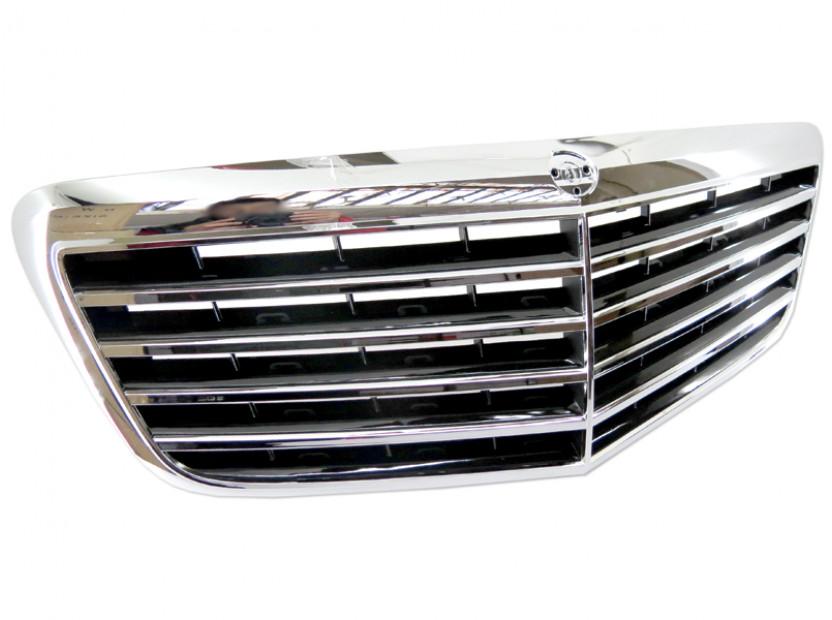 Хром/черна решетка за Mercedes E класа W211 2007-2009 6