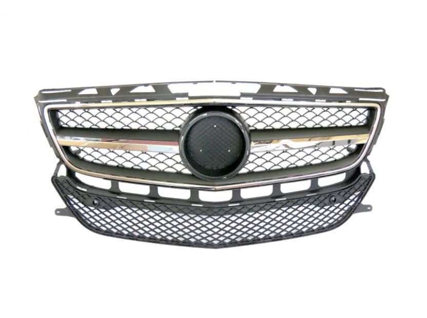 Хром/черна решетка тип AMG за Mercedes CLS C218 2011-2014 с отвори за парктроник, съвместима с предна стандартна броня