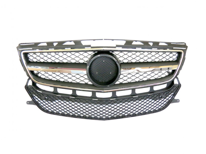 Хром/черна решетка тип AMG за Mercedes CLS W218 2011-2014 с отвори за парктроник, съвместима с предна стандартна броня