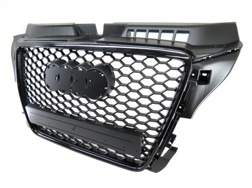 Черен лак решетка тип RS за Audi A3 хечбек, Sportback, кабрио 2009-2012 без отвори за парктроник 9