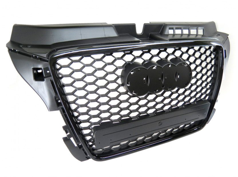 Черна решетка за Audi A3 2009-2011 тип RS без отвори за парктроник 10