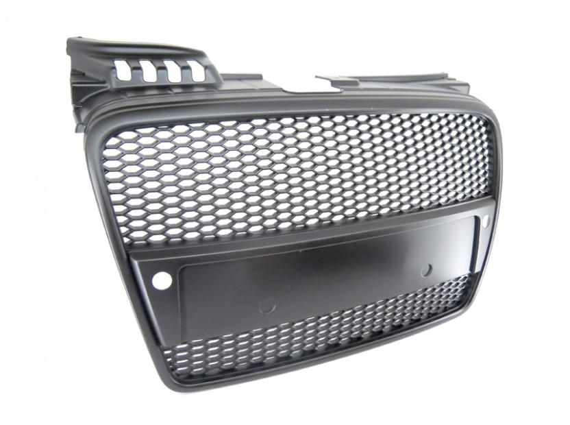 Черен мат решетка без емблема тип RS за Audi A4 B7 седан, комби 2004-2007 с отвори за парктроник 3