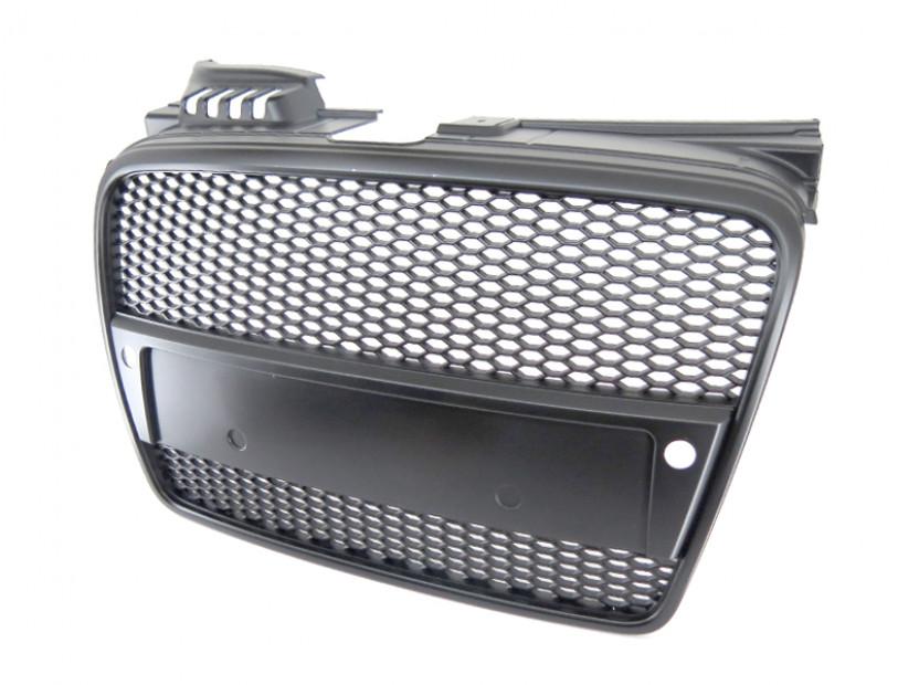 Черна решетка без емблема тип RS за Audi A4 2004-2008 с отвори за парктроник 2