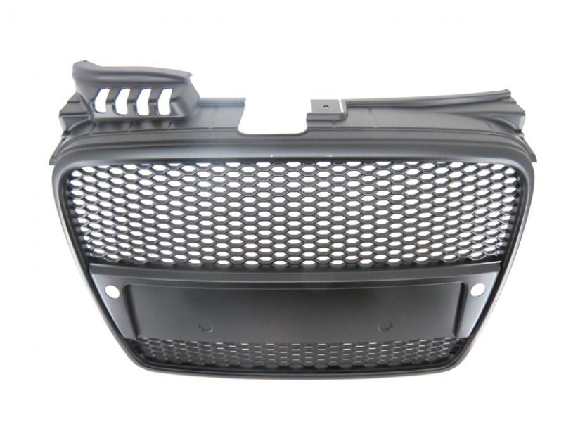 Черен мат решетка без емблема тип RS за Audi A4 B7 седан, комби 2004-2007 с отвори за парктроник 4
