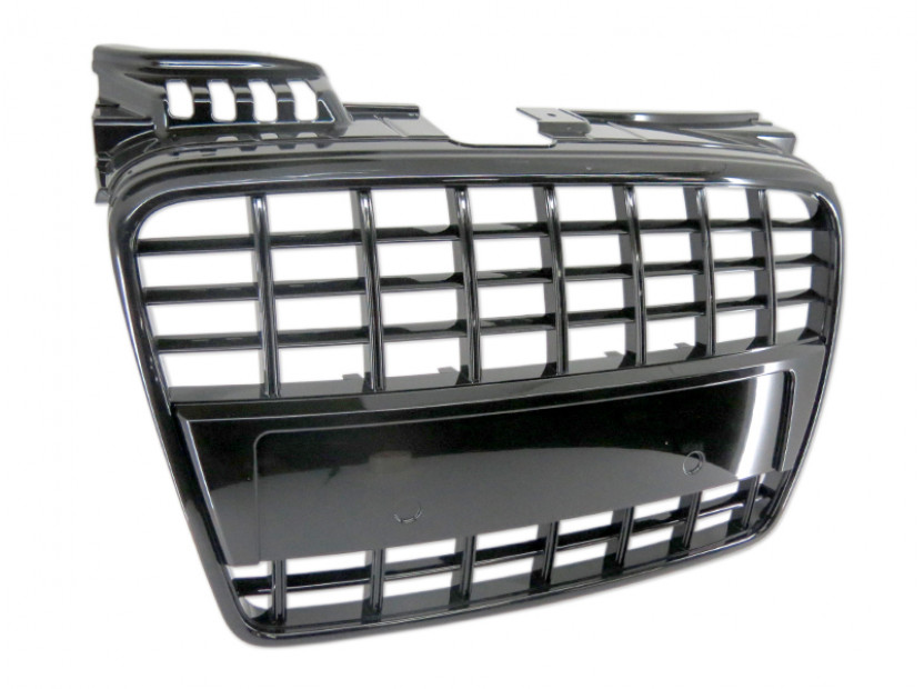 Черен лак решетка без емблема тип S4 за Audi A4 B7 седан, комби 2004-2007 без отвори за парктроник, за стандартна предна броня 3